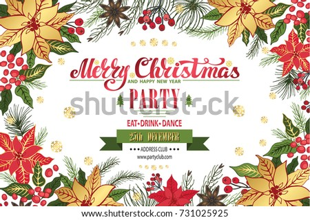 Free vector christmas greeting card download free vector art christmas party invitationdesign templateflyerticket ctor merry christmas handwriting stopboris Images