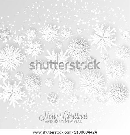 Christmas Party Invitation Paper cut origami snowflake gray background invitation template