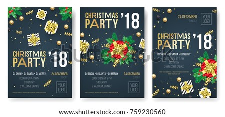 christmas party invitation poster design template for winter holiday december 2018 celebration night vector present