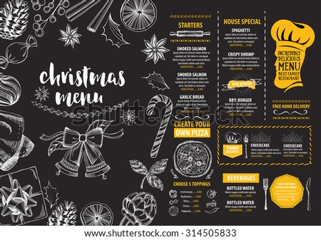 Christmas food vector illustration download free vector art christmas party invitation restaurant menu design vector template with graphic stopboris Images