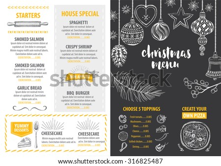 Christmas food vector illustration download free vector art stock christmas party invitation restaurant menu design vector template with graphic stopboris Choice Image