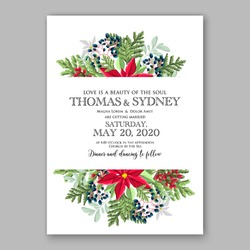 Christmas party invitation with holiday wreath of poinsettia, fir, pine needle, holly wild Privet Berry Winter wedding Invitation