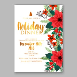 Christmas party invitation with holiday wreath of poinsettia, needle, holly