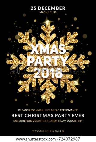 Christmas party poster design. Gold glitter snowflake with lights effects on black background. Eps10 vector.