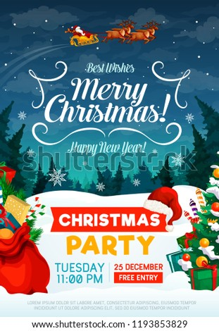 Christmas party poster or invitation card. Happy New Year and Xmas greeting design with Santa in sleigh with gifts bag and trees in snow on background