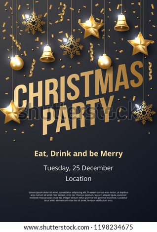 Christmas party poster template with shining gold ornaments. Made of snowflakes, gift, bells, star, christmas ball. Vector illustration