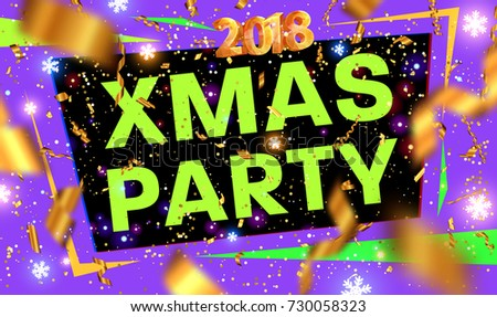 Christmas 2018 party poster template | Xmas and New Year disco placard | Gold glitter and glowing snowflakes | Vector illustration #730058323