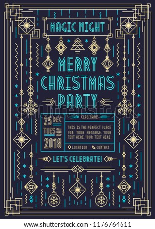Christmas party poster with holiday toys geometric art deco line style on black background for flyer, greeting card, invitation. Vector Illustration 10 eps