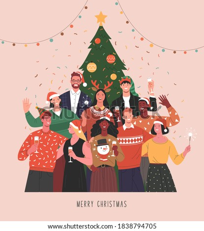 Christmas party. Vector illustration of diverse people in Christmas outfits standing together under Christmas tree with wine glasses and Bengal lights. Isolated on background