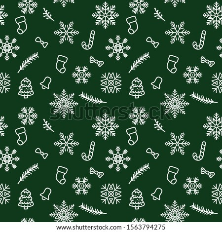 Christmas pattern background with illustrations of lots of Christmas icons. Seamless Christmas winter background. vector illustration