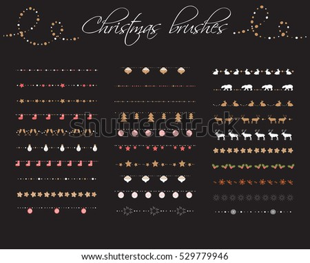 Christmas pattern brushes big set. Vector. New year #529779946