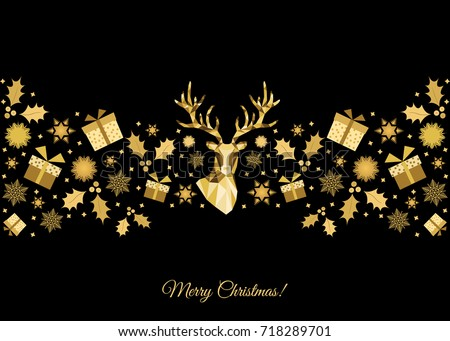 christmas pattern golden tree decoration happy new year background gold xmas head of - Gold Christmas