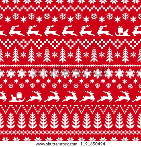 Christmas pattern in classic red and white colors. Winter illustration with deer, sleigh with gifts, Christmas trees, snowflakes and geometric ornaments. Background for your design.