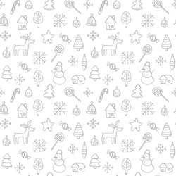 Christmas pattern - varied Xmas trees and snowflakes. Vector design for winter holidays on white background. Child drawing style trees.Background in the Scandinavian style.
