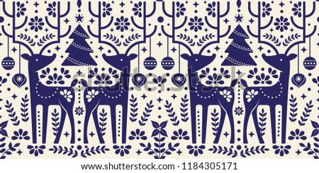Christmas pattern with deer that has bohemian/mexican style design. Perfect for holiday wrapping paper, wallpaper, post card, etc