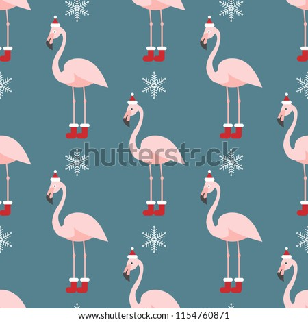 Christmas pattern with flamingo. Design for fabric, wallpaper, textile and decor.
