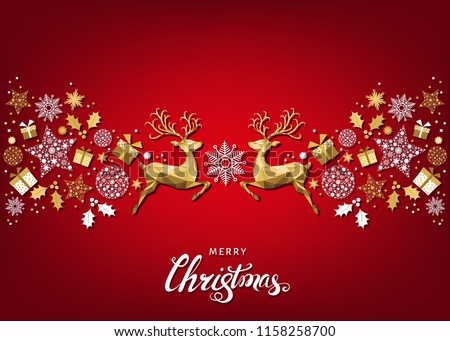 Christmas pattern with lettering and gold Xmas deer and snowflakes. Tree decoration. Happy New Year red background. Vector colorful template for greeting card. #1158258700