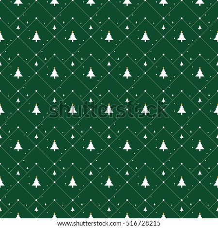 Christmas pattern with small stars, snow and Christmas trees on green background