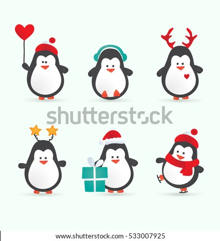 Christmas penguin characters - Set of winter cartoon vector illustrations