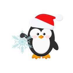 Christmas penguin holding snowflake isolated on white background. Winter penguin in Santa Claus red xmas hat. Flat design cartoon style vector baby bird character illustration.
