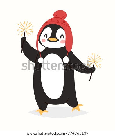 Christmas penguin vector character cartoon cute bird celebrate Xmas playfull happy penguin face smile illustration