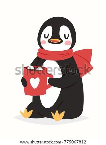 Christmas penguin vector character cartoon cute bird celebrate Xmas playfull happy penguin face smile illustration