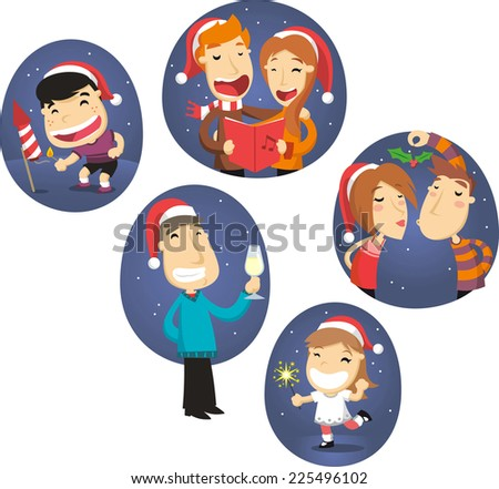 christmas people scenes vector