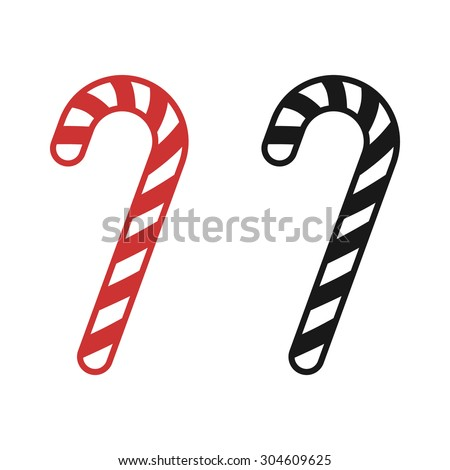 Christmas peppermint candy cane with stripes flat vector icon for apps and websites
