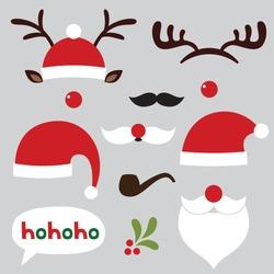 Christmas photo booth and scrapbooking vector set (Santa and deer)