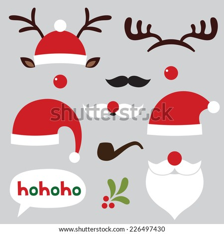 stock-vector-christmas-photo-booth-and-scrapbooking-vector-set-santa-and-deer