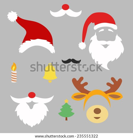 Christmas photo booth and scrapbooking vector set Santa deer