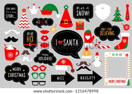 Christmas photo booth props. Merry christmas party . Red and green cards and speech bubble with funny quotes for christmas. Vector photobooth set: Santa and elf hat, beard, deer, snowman, candy.