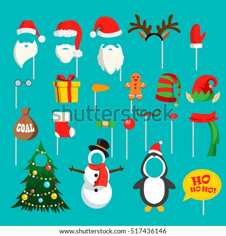 Christmas photo booth props set with Santa hat and beard, elf hat, festive gift, coal, Christmas stocking, snowman, penguin, tree, vector. Party decoration. Christmas hats props