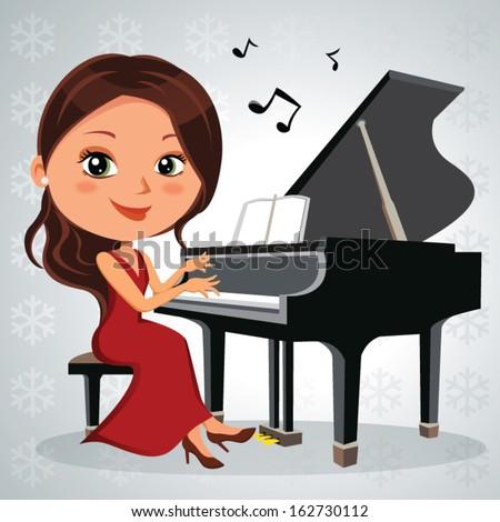 christmas piano recital vector