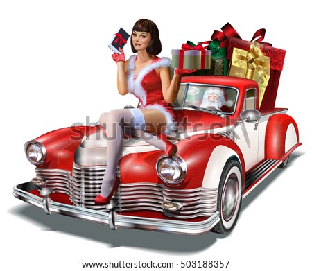 stock vector christmas pin up girl with gift box in hands while sitting on retro car 503188357 - Каталог — Фотообои «Ретро»