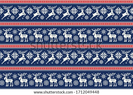 Christmas Pixel Pattern with Deers and Elks. Traditional Nordic Seamless Striped Ornament. Scheme for Knitted Sweater Pattern Design or Cross Stitch Embroidery