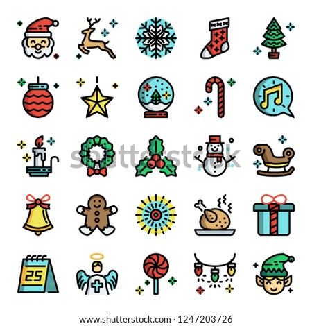christmas pixel perfect color line icons, vector editable stroke (48x48)