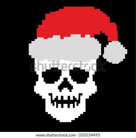 christmas pixel skull
