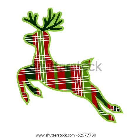 Christmas plaid reindeer with outline - stock vector