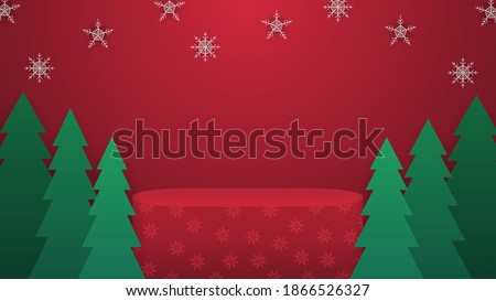 Christmas platform with snowflakes and pines