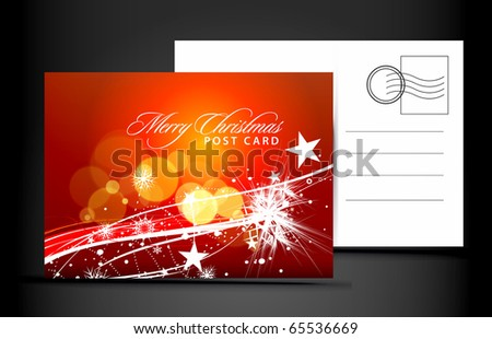 christmas post card, isolated on illustration background, vector illustration