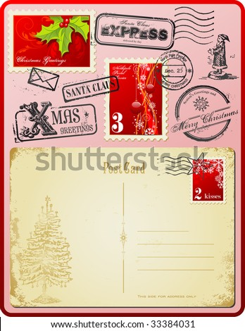 Christmas postage set with stamps, rubber-stamps and vintage postcard