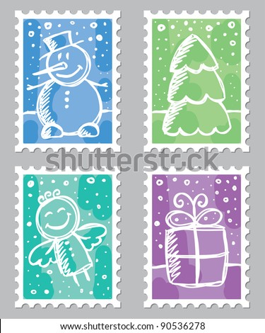 christmas postage stamps with cute drawings on gray background