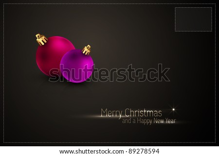 Christmas Postcard | Greeting Card | | Color of the balls can be change with 1 click | Separate Layers Named Accordingly