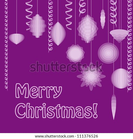 Christmas postcard in purple colors. No mesh, gradient, transparency. Objects grouped and named in English.