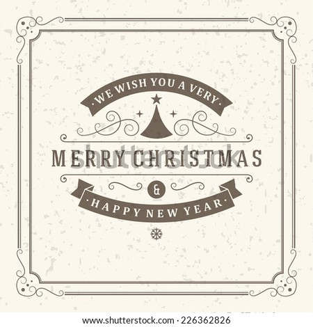 Christmas postcard ornament decoration background. Vector illustration Eps 10. Happy new year message, Happy holidays wish.  #226362826