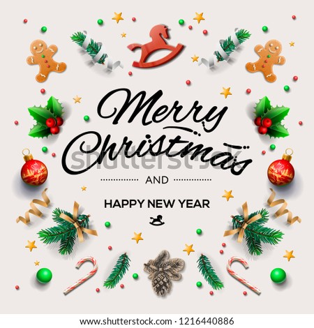 Christmas postcard with calligraphic season wishes and composition of festive elements such as cookies, candies, berries, christmas tree decorations, vector illustration.