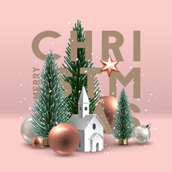 Christmas postcard with composition made of Christmas trees, glass ornaments and paper church building, with Star of Bethlehem above . Vector Illustration.