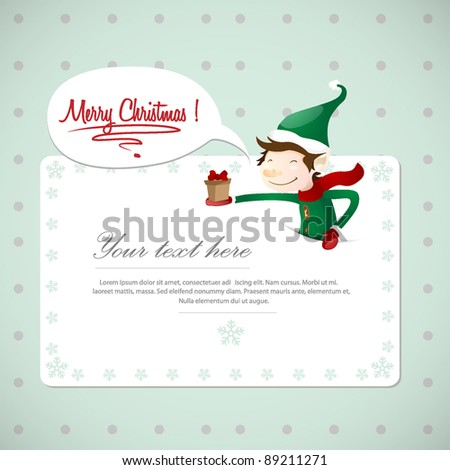 christmas postcard with cute elf