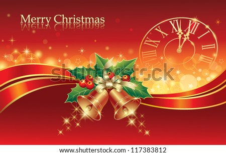 christmas postcard with holiday ring and clock 2013